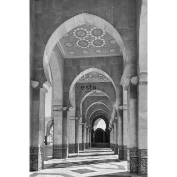 wall mural Moroccan Marrakech Riad Gallery black and white from ESTA home
