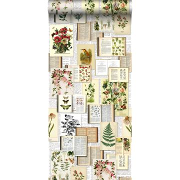 non-woven wallpaper XXL pages of a botanical book light cream beige, green, brown and mustard from ESTA home