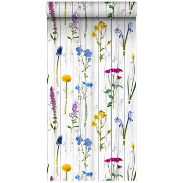 non-woven wallpaper XXL wild flowers on wooden vintage planks light warm gray, yellow, blue and candy pink from ESTA home