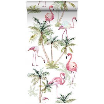 non-woven wallpaper XXL flamingos pink from ESTA home