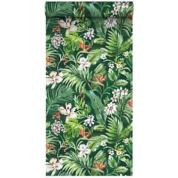 non-woven wallpaper XXL tropical leaves and flowers emerald green from ESTA home