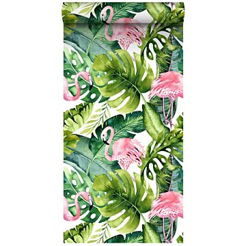 non-woven wallpaper XXL tropical leaves with flamingos green and pink from ESTA home