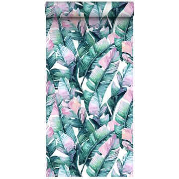 non-woven wallpaper XXL banana leaves turquoise and pink from ESTA home