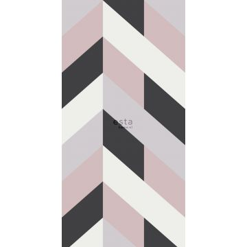 wall mural herring bone pattern black, white and antique pink from ESTA home