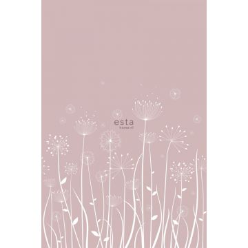 wall mural dandelion silhouettes white and antique pink from ESTA home