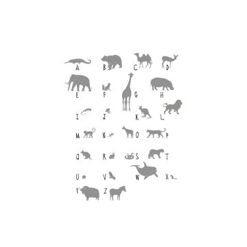 wall mural animals ABC gray from ESTA home