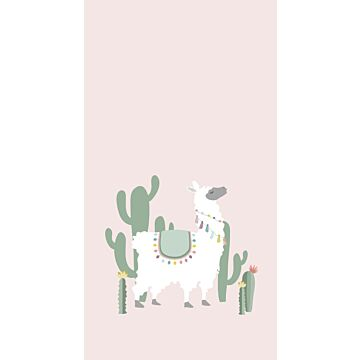 wall mural alpaca soft pink and green from ESTA home