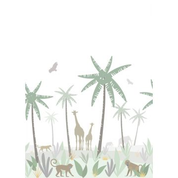 wall mural jungle animals green, gray and brown from ESTA home