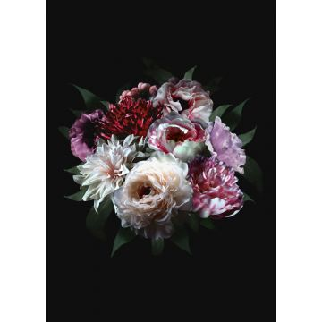 wall mural still life of flowers multicolor on black from ESTA home