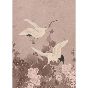 wall mural crane birds gray pink from ESTA home