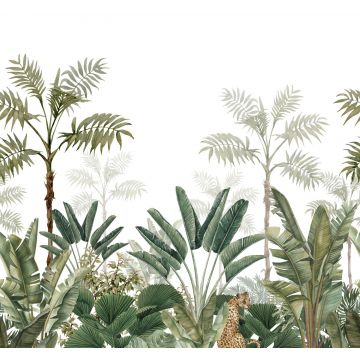 wall mural jungle white and gray-grained olive green from ESTA home
