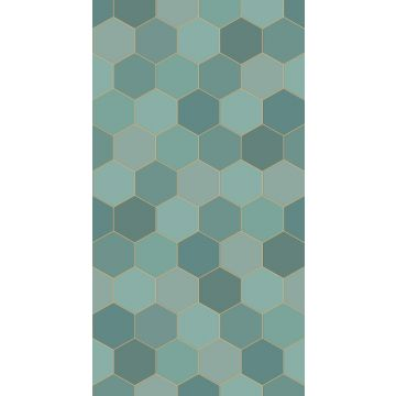 wall mural hexagon sea green and teal from ESTA home