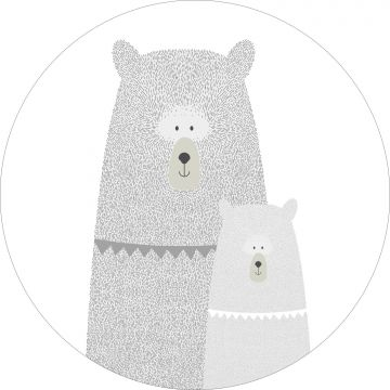 self-adhesive round wall mural bears mother and child light gray from ESTA home