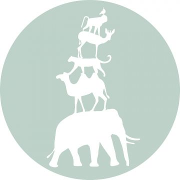 self-adhesive round wall mural stacked animals mint green and white from ESTA home