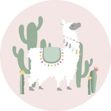 self-adhesive round wall mural alpaca pink and green from ESTA home