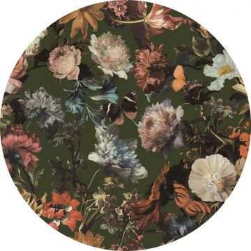 self-adhesive round wall mural flowers greyed olive green from ESTA home