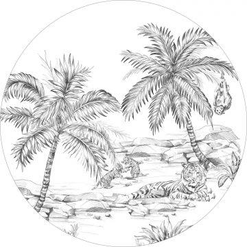 self-adhesive round wall mural pen drawn safari black and white from ESTA home