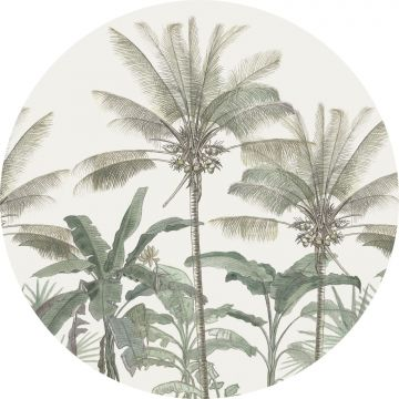 self-adhesive round wall mural palm trees light beige and grayish green from ESTA home