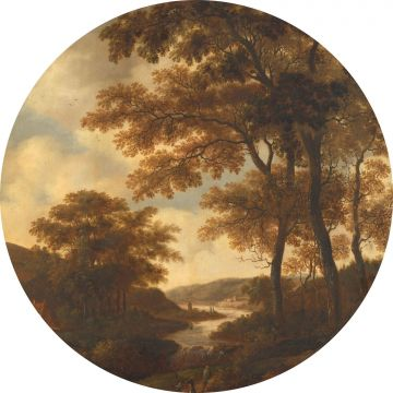 self-adhesive round wall mural wooded landscape orange from ESTA home