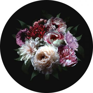 self-adhesive round wall mural still life of flowers multicolor on black from ESTA home