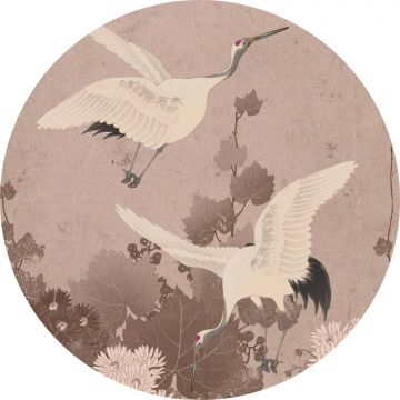 self-adhesive round wall mural crane birds gray pink from ESTA home