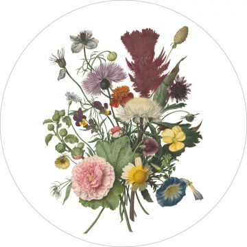 self-adhesive round wall mural bouquet green, pink and yellow from ESTA home