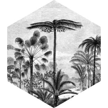 wall sticker tropical landscape with palm trees black and white from ESTA home