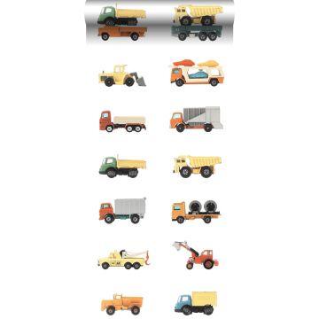 non-woven wallpaper XXL trucks and tractors yellow, orange and blue from ESTA home