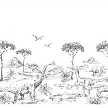 wall mural dinosaurs black and white from ESTA home