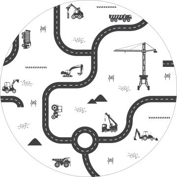 self-adhesive round wall mural vehicles black and white from ESTA home