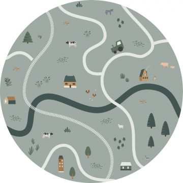 self-adhesive round wall mural tractors and farm animals grayish green from ESTA home