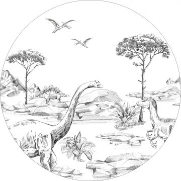 self-adhesive round wall mural dinosaurs black and white from ESTA home