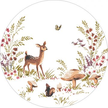 self-adhesive round wall mural deer green and brown from ESTA home