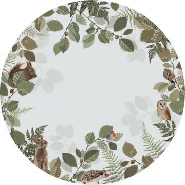 self-adhesive round wall mural forest animals green and brown from ESTA home
