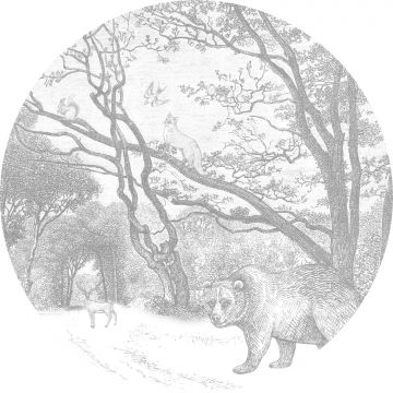 self-adhesive round wall mural forest with forest animals gray from ESTA home
