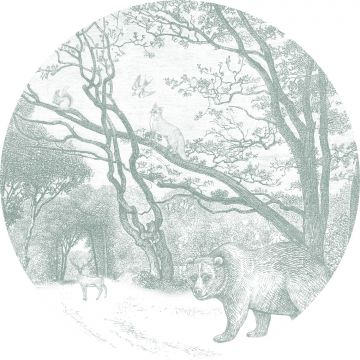 self-adhesive round wall mural forest with forest animals green from ESTA home
