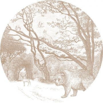 self-adhesive round wall mural forest with forest animals cervine from ESTA home