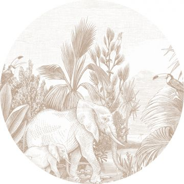 self-adhesive round wall mural jungle cervine from ESTA home