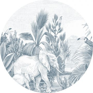 self-adhesive round wall mural jungle blue from ESTA home