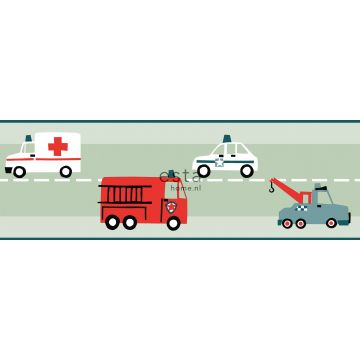 self-adhesive wallpaper border cars, fire trucks, helicopters and cranes mint green from ESTA home