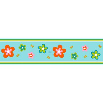 wallpaper border flowers turquoise and orange from ESTA home