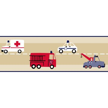 wallpaper border fire truck and police car beige, red and blue from ESTA home