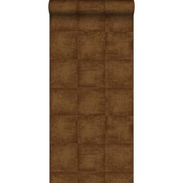 wallpaper plain shiny copper brown from Origin