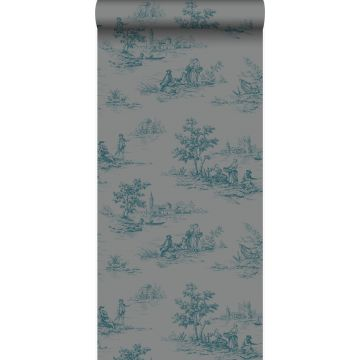 wallpaper toile de Jouy gray and turquoise from Origin