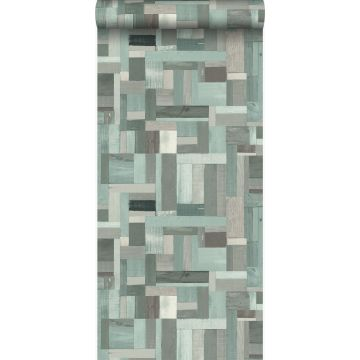 wallpaper scrap wood planks motif grayish green from Origin