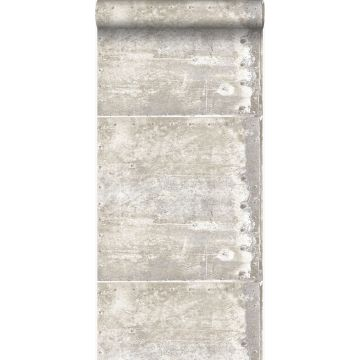 wallpaper large weathered rusty metal plates with rivets off-white from Origin