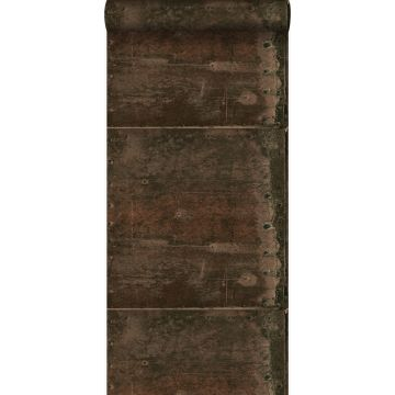wallpaper large weathered rusty metal plates with rivets rust brown from Origin