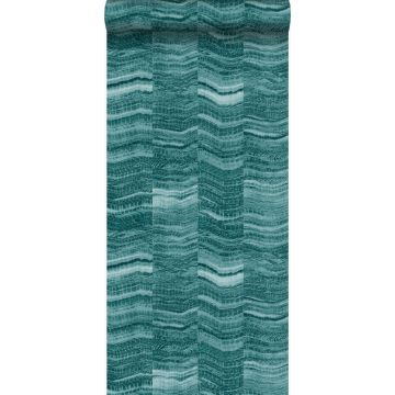 wallpaper zig zag stripes of layered marble teal from Origin