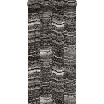 wallpaper zig zag stripes of layered marble black from Origin