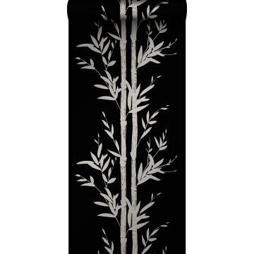 wallpaper bamboo matt black and gray from Origin